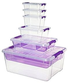 Amazon.com: Sistema Home Storage Collection All-Purpose Plastic Storage Containers with Lids, Value Multipack (Set of 6), Purple: Home & Kitchen Plastic Container Storage, Storage Containers, Lunch Boxes, Home Collections, Home Kitchens, Purpose, Packing, Amazon, Blue