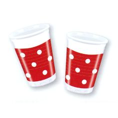 Műanyag pohár piros fehér pettyes 200ml 10db-os