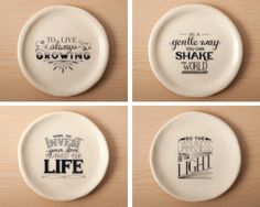 Set of 4  Typographic Slab Plates by FromTheHilltop on Etsy, $75.00