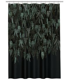 Kuviollinen suihkuverho - Musta/Lehtikuvio - Home All Cheap Curtains, Black Curtains, Curtains With Rings, H&m Deco, Us White House, Metal Curtain, Black Leaves, Shower Curtain Rings, Scandinavian Interior Design