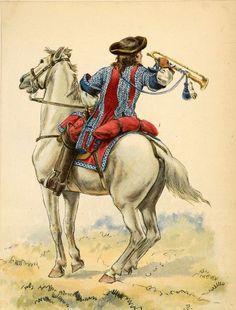 French; cavalry, Regiment La Reine, Trumpeter, 1680