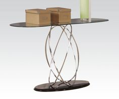 Deron Black Chrome Glass Wood Steel Sofa Table