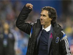 Montreal Impact (MLS) officially names Mauro Biello head coach - Impact interim head coach Mauro Biello celebrates after 2-1 win over Toronto FC in the final MLS regular-season game at Saputo Stadium on Oct. 25, 2015.