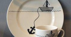 Sailor cake, Mugs set and Cake plates on Pinterest