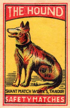 Vintage matchbox illustration with dog Design Retro, Vintage Designs, Vintage Labels, Vintage Posters, Vintage Fireworks, Matchbox Art, Dog Illustration, Vintage Advertisements, Retro Vintage