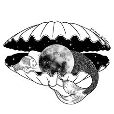 The moon under the sea #hennkim #henn #art #illustration #drawing #sketch #black #white #pen #inspire #creative #pintable