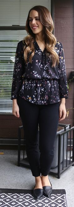 Jules in Flats - Dynamite Dark Floral Blouse, Old Navy Pixie Pants