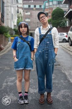 SOL-SOL, super cute! Denim overall couple!