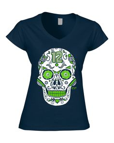 Seahawks Womens Shirt- Sugar Skull - Navy – America s Finest Apparel  Seattle Football a98ec4a6c