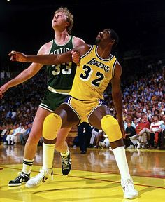 Larry Bird, Magic Johnson, Boston Celtics, Los Angeles Lakers, 1984 - watching Celtics basketball with Mark I Love Basketball, Basketball Legends, Basketball Players, Basketball Jones, Celtics Basketball, Basketball Anime, Basketball Court, Basketball History, Magic Johnson
