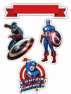 Captain America: Free Printable Cake and Cupcake Toppers. Captain America Cupcakes, Captain America Birthday, Birthday Cake Toppers, Cupcake Toppers, Captain Amerika, Avengers Birthday, 4th Birthday Parties, Superhero Party, Free Printables
