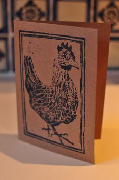 Hen lino print greeting card by TheThursdayProject on Etsy, £1.20