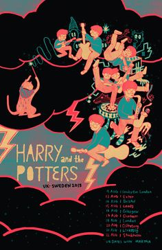 I designed and screen printed a tour poster for Harry and the Potters this summer.