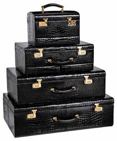 Mark Cross luggage - oh my! Luxury Luggage, Travel Luggage, Travel Bags, Mark Cross, Vintage Luggage, Vintage Travel, Train Case, Luggage Sets, Baggage
