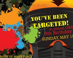 paintball birthday party invitations - Google Search