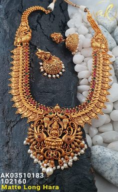 Temple Jewellery Available at for booking msg on Gold Jhumka Earrings, Gold Earrings Designs, Necklace Designs, Gold Mangalsutra, Gold Designs, Antique Jewellery Designs, Gold Jewellery Design, Jewellery Sale, Designer Jewellery