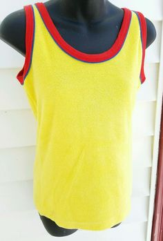 Super cool tank top by Tropic Knits. Bright yellow with red and blue trim. Appears To have never been worn ! Excellent condition! | eBay!