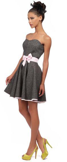 robe bustier longue en lainage grise et noire robesoiree. Black Bedroom Furniture Sets. Home Design Ideas