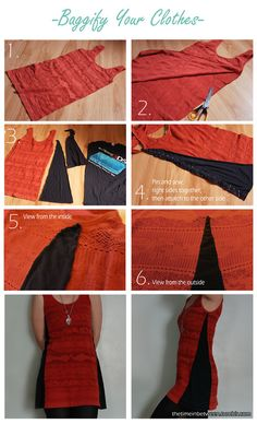 Add sides to clothes. Click through for a more detailed tutorial.