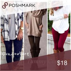 Best High Waist Tummy Control Leggings Best sellers many colors one size fits most . Size breakdown for search purposes only . Nwot OSFM fleece lined high waisted tummy control leggings fits size small through 14 . Colors black mustard cream burgundy only now . Vivacouture Pants Leggings