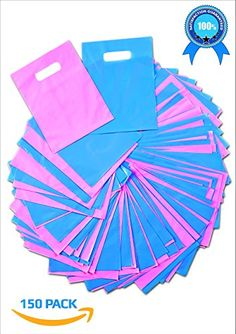 Plastic Thank You Gift Bags with Die Cut Handles 9x12 Inch 150  Pink and Blue Glossy Pastels Thick Poly  Retail Merchandise Shopping Bulk Wholesale Pack  Quality Made  Bonus ebook -- For more information, visit image link.-It is an affiliate link to Amazon. #ThankYouGift
