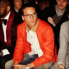 Oliver Proudlock front row at London Collections; Men wearing a Ben Sherman shirt.