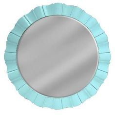 Wall Mirror TRADE WINDS Petal Fretwork Round Painted Aqua Hardwood Resin N TW-95