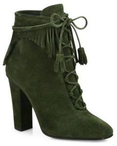 "Suede tasseled lace-up bootie with cascading fringe trimSelf-covered block heel, 4.13"" (105mm)Suede upperSquare toeLace-up style with side zipLeather lining and soleMade in Italy"