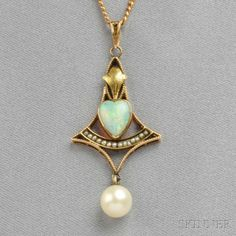 Art Nouveau style Gold and Opal Pendant, the bezel-set opal heart within a ribbed frame with leaf surmount and pearl drop, seed pearl accents, lg., and suspended from later gold flattened curb link chain. Opal Jewelry, Jewelry Art, Antique Jewelry, Vintage Jewelry, Jewelry Design, Fashion Jewelry, Art Nouveau Jewelry, Jewelery, Bling