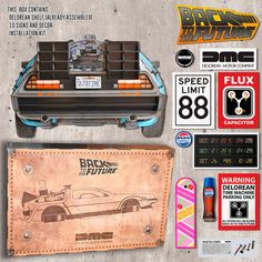 Delorean Back to the Future Shelf for Hot Wheels + 10 signs and decoration Dmc Delorean, Delorean Time Machine, Back To The Future, Future Car, Hot Wheels, Dance Themes, Rick Y Morty, Bttf, Model Hobbies