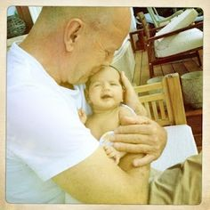 Bruce Willis and his new born baby in Budapest