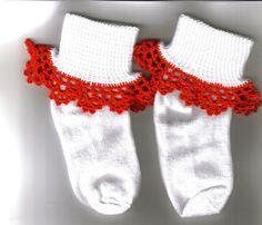 Girl Socks with crochet ruffles - white with red ruffle by JNPsStringsNThings on Etsy https://www.etsy.com/listing/22570286/girl-socks-with-crochet-ruffles-white