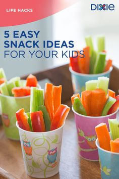 Kids are always on the go. Dixie® cups and plates make snacks easy to pack, store and serve, so even the busiest family can make time for healthy snacks.