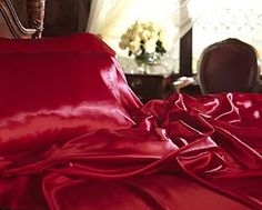 New Full (Double) Size Satin Sheet Set - Includes 1 fitted sheet, 1 flat sheet and 2 pillow cases - Burgundy (Kitchen) Satin Bedding, Red Bedding, Queen Size Bedding, Luxury Bedding, Comforter, Bedding Sets, King Size Bed Sheets, Bed Sheet Sets, Silk Sheets