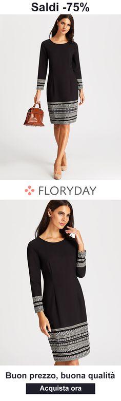 Esci con questo vestito nero comodo Floryday Dresses, Dresses For Work, Party Dress, Suits, Casual, Shopping, Design, Style, Fashion
