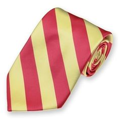 Woven Coral Pink and Light Yellow Striped Tie $6.95
