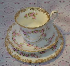 Royal Albert Dimity Rose Tea Trio, Tea Cup, Saucer, Tea Plate, Vintage English Bone China, Pink Roses and Gilt, First Quality by ImagineHowCharming on Etsy