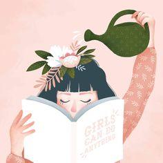 Frauenförderung Illustrationen - Jason Floyd DIY and Art Art And Illustration, Girl Illustrations, Botanical Illustration, Art Sketches, Art Drawings, Cartoon Drawings, Illustrator, Grafik Design, Aesthetic Art