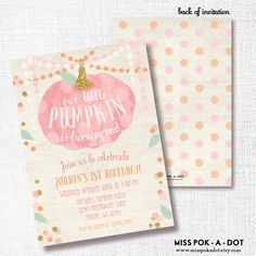 OUR little PUMPKIN is ONE fall girl 1st birthday invite first pink gold…