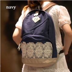 """Fresh Simple Cute Lace Canvas Backpacks Details  Product Name:Fresh Simple Cute Lace Canvas Backpacks  Material: Canvas/ Lace Color:Coffee/Navy/Blue/Khaki Size:Length:30CM 11.81"""" Width:14.5CM 5.71"""" Heigth:45CM 17.72"""" This bag featuring its Lace design. It is very fashion among the young. The ..."""