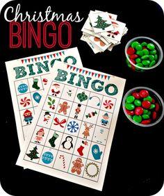 Printable Christmas Bingo!  Super fun idea for the kids.  She even shares the bingo cards!  #Christmas #activityforkids