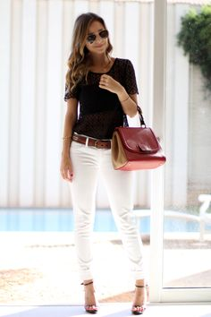 32 Amazing White Pants Ideas Trends in 2019 - Femalinea Dressy Outfits, Mode Outfits, Chic Outfits, Spring Outfits, Fashion Outfits, White Pants Outfit Spring Work, Vest Outfits, Girl Outfits, Fashion Tips