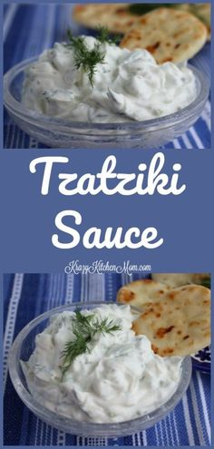 Greek Tzatziki Sauce is made with strained yogurt and cucumber, garlic, olive oil, and dill. It's creamy and tangy and delicious.