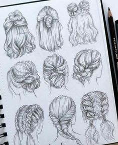 best cute drawings, anime drawings, flower drawing of techniques, great examples of drawing tutorial. Cool Art Drawings, Pencil Art Drawings, Art Drawings Sketches, Drawings Of Hair, Drawing Ideas, Drawing Drawing, Emoji Drawings, Drawing Skills, Drawing Poses