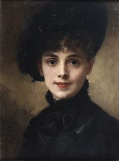 """""""Portrait de Femme au Chapeau Noir"""" -- by Gustave Jean Jacquet (French, 1846–1909)"""