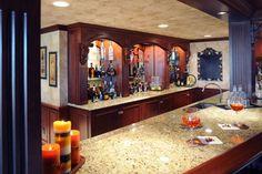 Pub style basement bar, wood craving and mirrors Basement Bar Designs, Basement Ideas, Bar Areas, Basement Bathroom, Basement Remodeling, Liquor Cabinet, Mirrors, Wood, Furniture