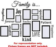 Family Is...Vinyl Wall Quote Decal Collage - Works Great with Picture Frames