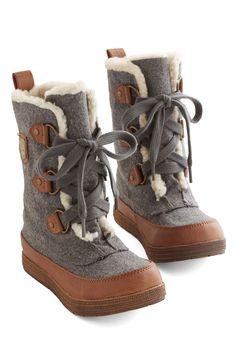 Can't Flurry Love Boot. You waited patiently for the perfect pair - and found a delightful reward in these heather-grey and camel-brown boots. #grey #modcloth