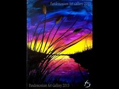 Sunset and Cattails Step by Step Painting on Canvas for Beginners - YouTube