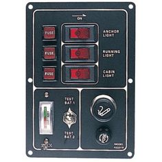 SeaDog 422310 Illuminated Battery Rocker 3 Switch Panel, Features Gauge and Cigarette Lighter, 6-1/2 inch x 4-1/2 inch